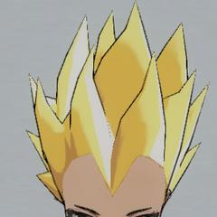Spiky blonde hair.