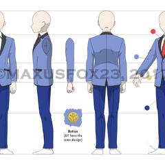 Versión masculina del mismo uniforme.