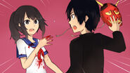 Senpai zdejmuje maskę Yandere-chan