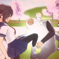 A delinquent being knee by Yandere-chan.