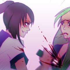 Stabbing Midori in