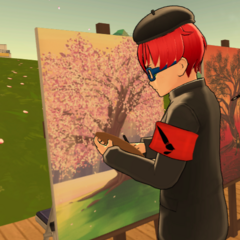Geiju painting behind the cherry tree after school on Friday.