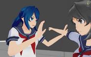 Broniąca się licealistka przed atakiem Yandere-chan