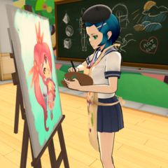 Efude painting in the Art Club.