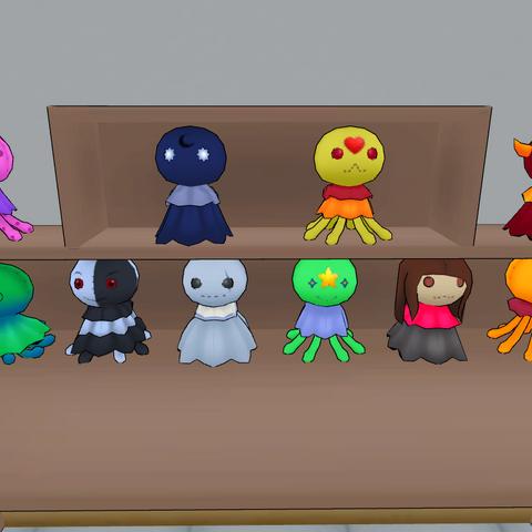 Assorted fabric dolls.