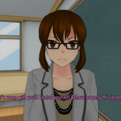 A teacher noticing Yandere-chan fully insane. May 7th, 2016.