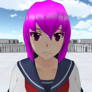 Mai Waifu with purple eyes.