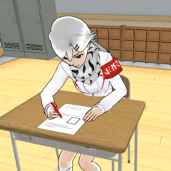 Shiromi taking notes and doing her schoolwork in-game.