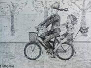 Рюто и Пиппи на велописеде