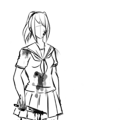 A bloodied Yandere-chan in the <a rel=