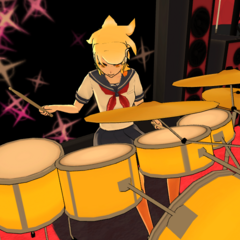 Dora playing the drums in the Light Music Club.