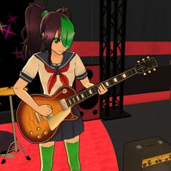 Gita playing the guitar in the Light Music Club.