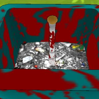 A baseball bat inside the trash can. March 15th, 2016.