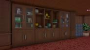 Книжный шкаф и цветок