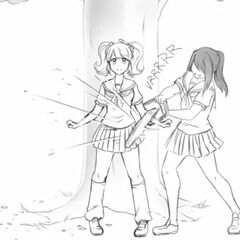 Ayano trying to cut Rival-chan with a chainsaw.