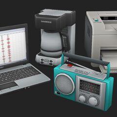 Computadora portátil, radio e impresora Saikou mostrados en <a rel=