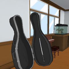 A katana inside the cello case. June 3rd, 2016.