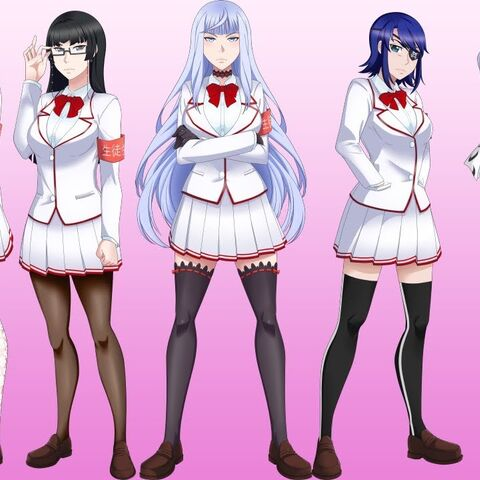 Akane com o resto do Conselho Estudantil.