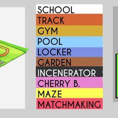 Arte conceptual del diseño de la escuela en el juego final.