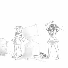 Rival-chan unsuccessfully crushed by a tree.