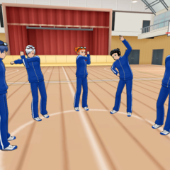 The sports club stretching in their old gym uniforms.