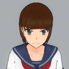 Short brown hair with a straight fringe.