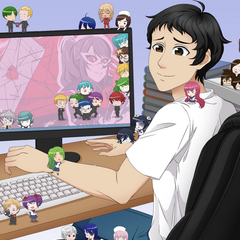Yandere Dev on his desktop with a lot of the game's characters surrounding him from <a rel=