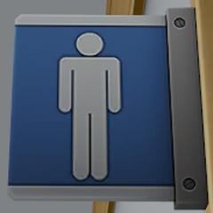 Señal en los baños de hombres.