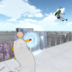 Punching Midori.