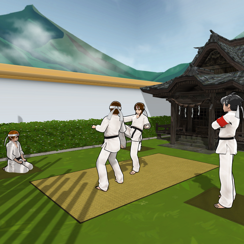 Martial Arts Club training in the first Japanese Garden.