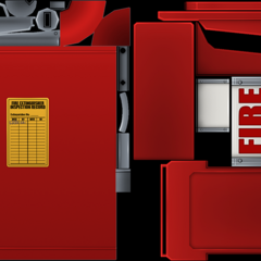 The textures of the fire extinguishers, shown on Reddit.