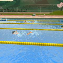 體育社在游泳池游泳