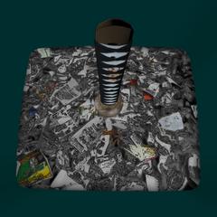 Katana escondida na lata de lixo