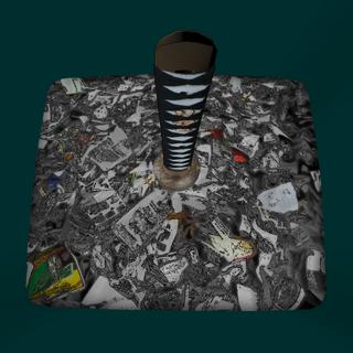 A katana inside the trash can. March 5th, 2016.