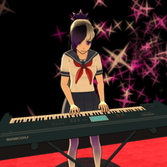 Kiba playing the keyboard in the Light Music Club.