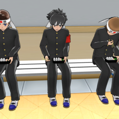 The male Martial Arts Club members eating their lunch outside of the club in-game.