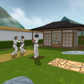 Martial Arts Club training in the second Japanese Garden.