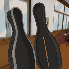 A shinai inside a cello case. April 28th, 2018.