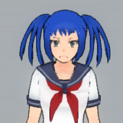 Dark blue parted out pigtails.