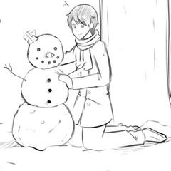 Senpai building a snowman in