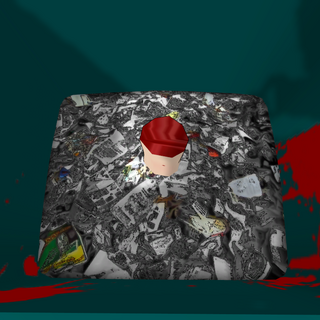 An arm inside the trash can. March 2nd, 2016.