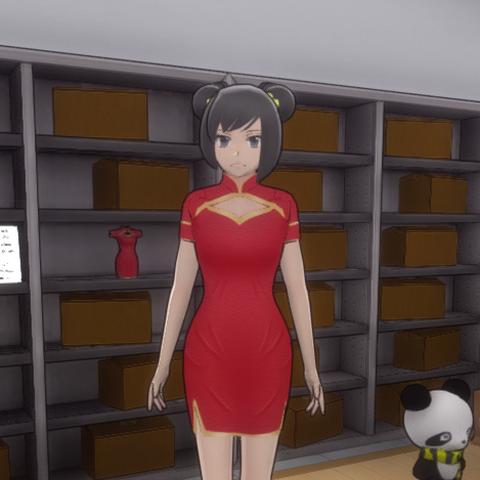 The dress inside the room.