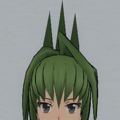Spiky green hair in a bun.