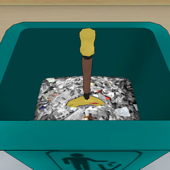 A sword inside the trash can. April 28th, 2018.