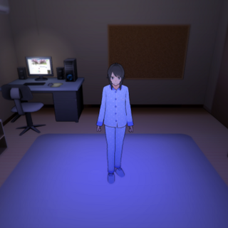 Yandere-chan in blue pajamas. October 8th, 2015.