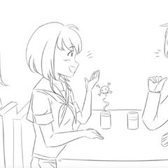 Senpai berbicara dengan wanita saat dikuntit oleh Yandere-chan dalam <a rel=
