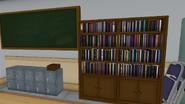 Книжный шкаф и железные ящики