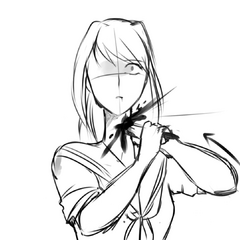 Yandere-chan stabs her own neck in the <a rel=