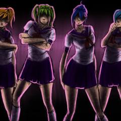 Saki與彩虹六的插圖,顯示在影片