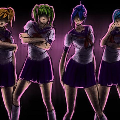 Koharu與彩虹六的插圖,顯示在影片